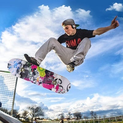 "ENKEEO 32"" Skateboard Complete 9 Ply Maple Wood Double Kick Concave Skateboards"